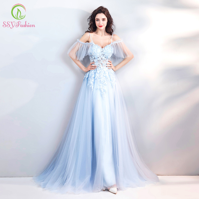 SSYFashion New Summer Fresh Light Blue Lace Evening Dress V-neck Sweep  Train Appliques Beading Prom Party Gown Robe De Soiree ffc2e124ba0e