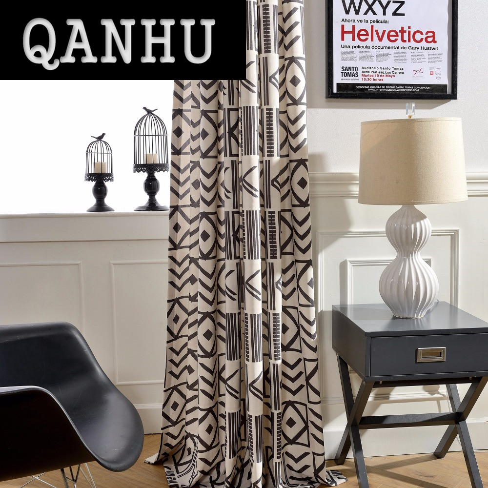 qanhu european style blackout jacquard curtains for bedroom tulle geometric curtains sets for living room window
