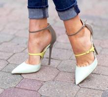 Nueva llegada remiendo de la manera del alto talón del dedo del pie cerrado double hebilla de la correa bombas vestido de fiesta de verano mujer zapatos de las mujeres del envío shi