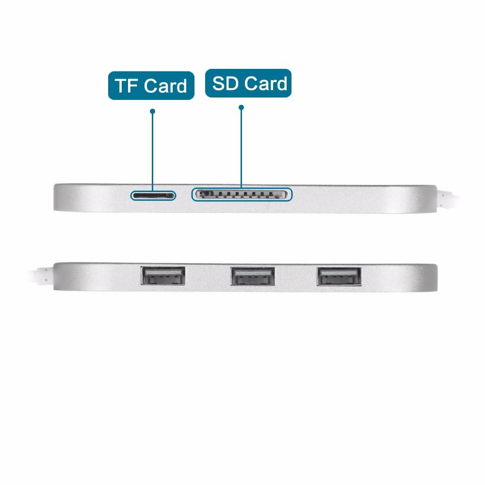 Ultra-Slim Premium 3 Port Aluminum USB 3.0 Hub with Multi-In-1 Card Reader(SD & TF) for iMac, MacBook, MacBook Pro