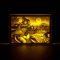 Originality Paper Carving Night Lights for Game Characters Diao Chan Moon Lamp Bedroom Bedside Night Lights Luminaria Birthday