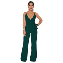цена на Sexy Wrap V Neck Pleated Lace Up Jumpsuit Women Spaghetti Strap Backless Cross Wide Leg Pants Outfits Elegant Outwear Jumpsuit