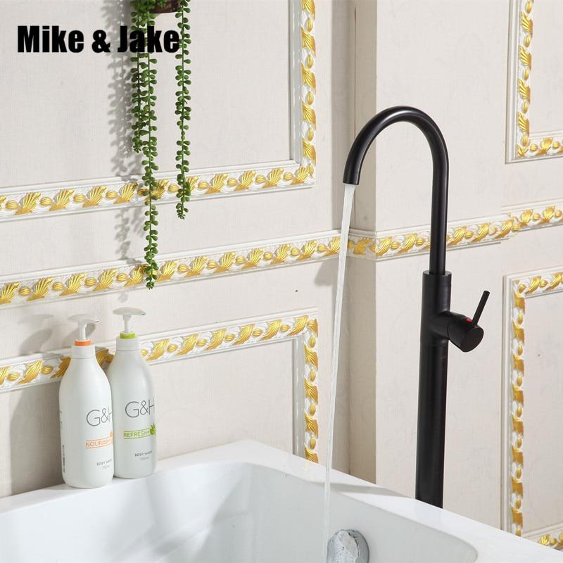 Black Floor Stand Basin Faucet Bathtub Stand Tap Shower Mixer Brass Shower Set Luxury Bathtub Stand Faucet Floor Stand Tap