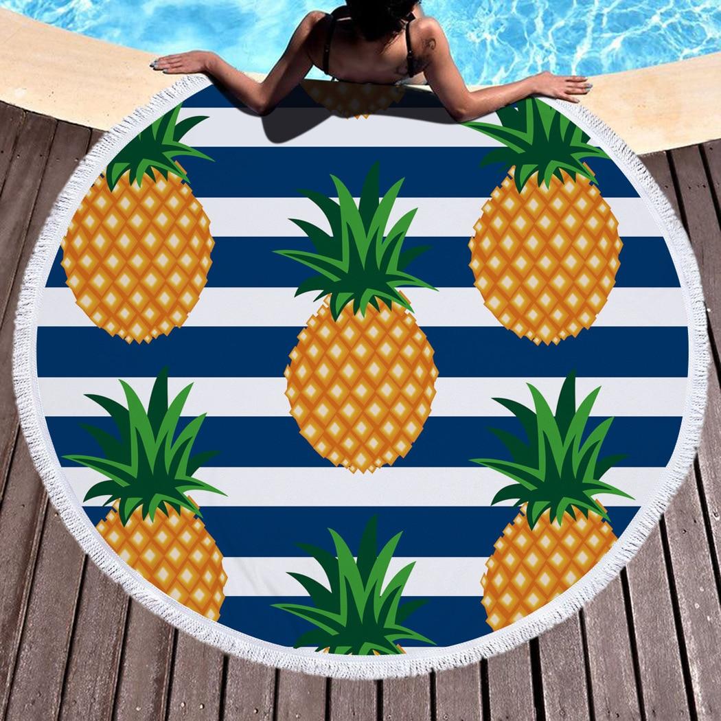 Summer Pineapple Leopard Large Microfiber Round Beach Towel Toalla Redonda Playa Grande Microfibra Drap Serviette De Plage Bain