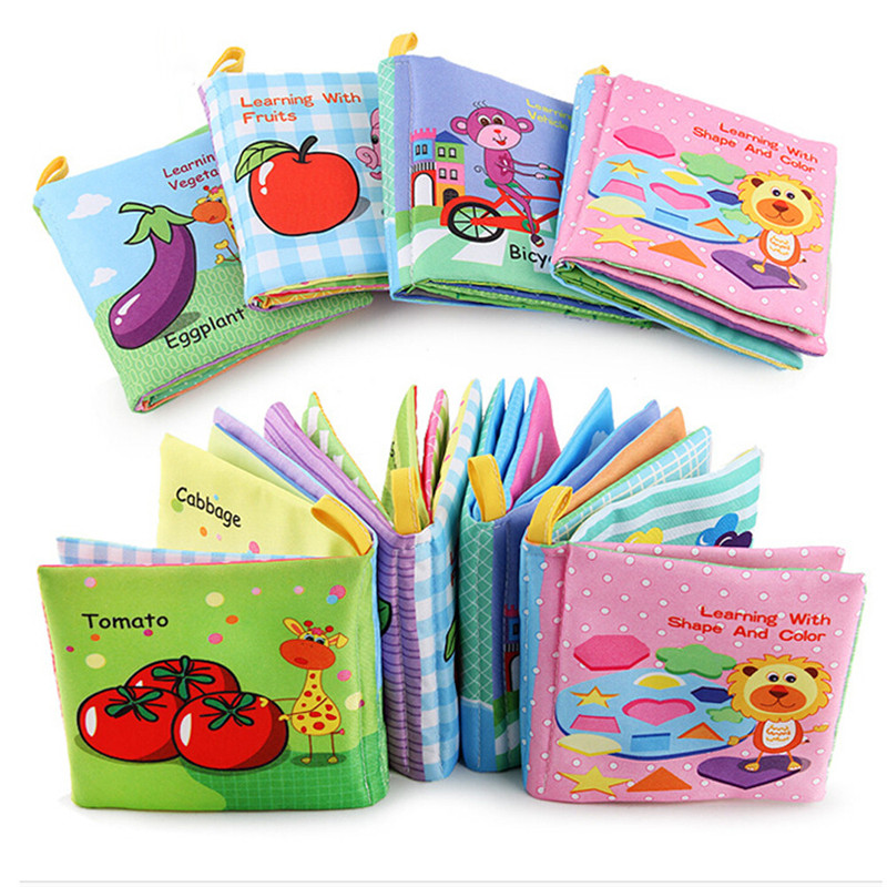 Soft New Cloth Baby Intelligence Development Learn Picture Cognize Book For Children Learning Sound Books In English FE13d(China)