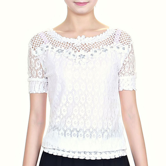Summer Polyester Women Surplice Embroidery Short Sleeve T-Shirts