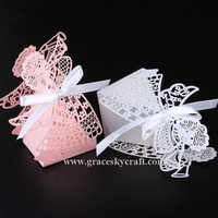 50pcs/lot Free Shipping Laser cut Lovely angel design Paper Christmas Birthday Wedding candy chocolate Boxes Party supplies