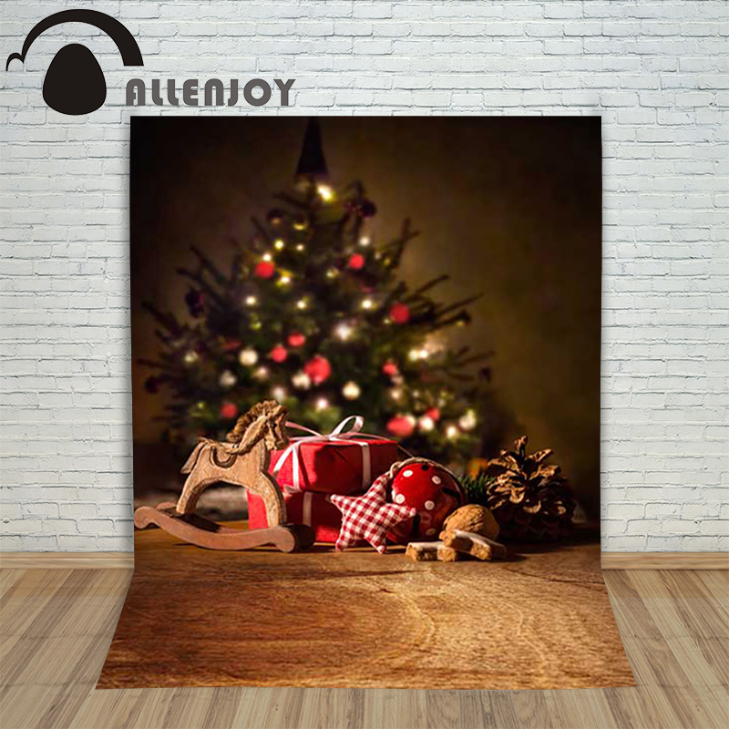 Christmas children's photo background Wooden horse xmas tree blur backdrop photography vinyl photo new year holiday a backdrop christmas backgrounds new year noel golden tree gift ball xmas photocall vintage fond newborns