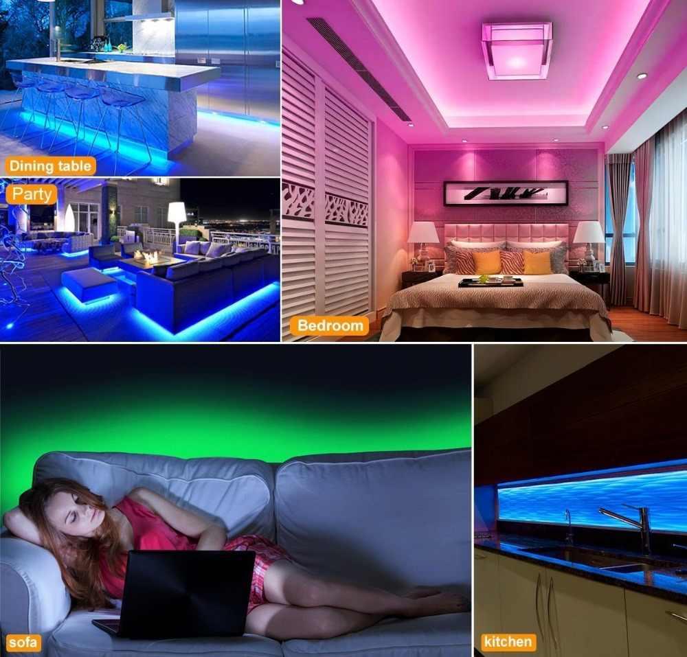 Светодиодная лента 5050 RGB 12V Fita De светодиодный светильник водонепроницаемая лента 10 м 5 м 2 м 3 м 1 м 24 кнопки пульт дистанционного управления ИК RGB светодиодный адаптер питания