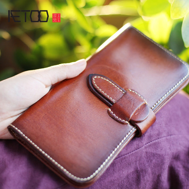 AETOO Retro handmade thickened tanned leather men and women leather the wallet full leather long paragraph leisure Vintage olg yat italian vegetable tanned cowhide handmade long section of hasp art wallet elegant retro handbag fiscal cloth