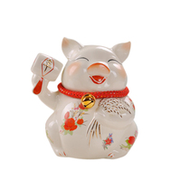 1PCS Fortune piggy piggy bank ceramic ornaments geomancy money saving pot lovely home crafts new wedding products LU613417