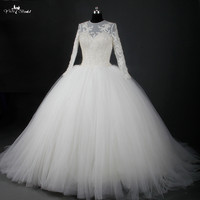 RSW762 Champagne Round Neck Long Sleeve Wedding Dress Ball Gowns Puffy Tulle Skirt