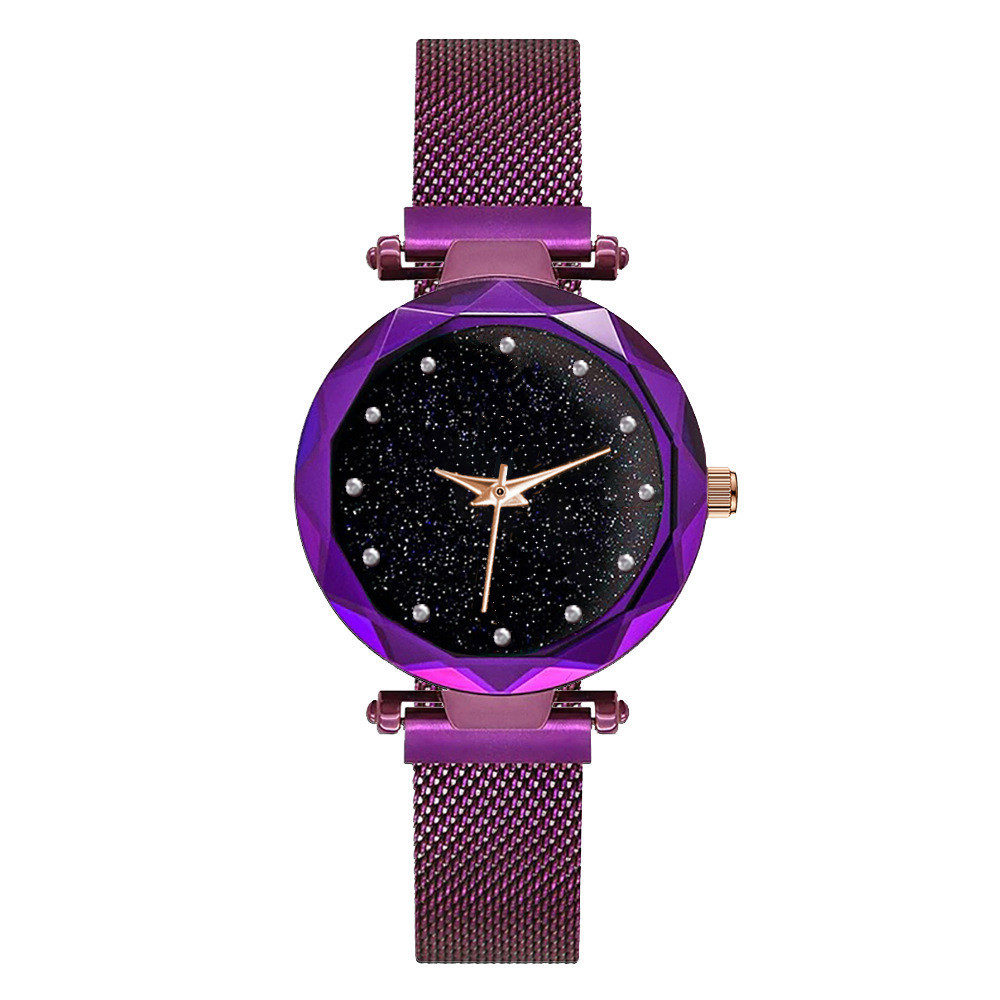 2018Luxury Rose Gold Women Watches Minimalism Starry sky Magnet Buckle Fashion Casual Female Wristwatch Waterproof Roman Numeral все цены