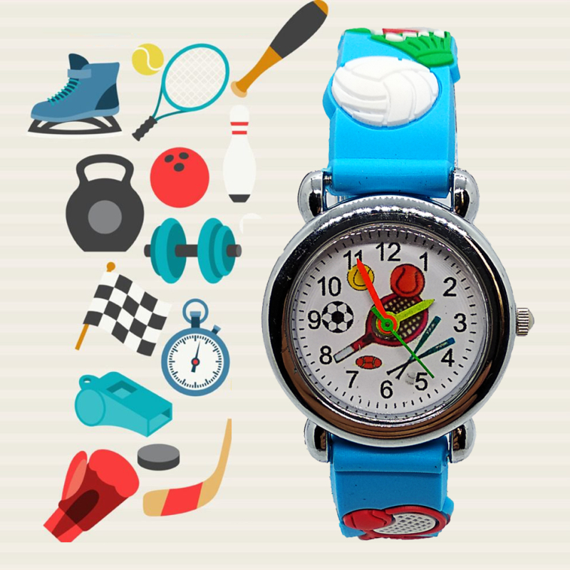 Cartoon Sporting Goods Baseball Kids Watches Girls Boys Students Clock Children Quartz Wristwatches Badminton Racket Child Watch