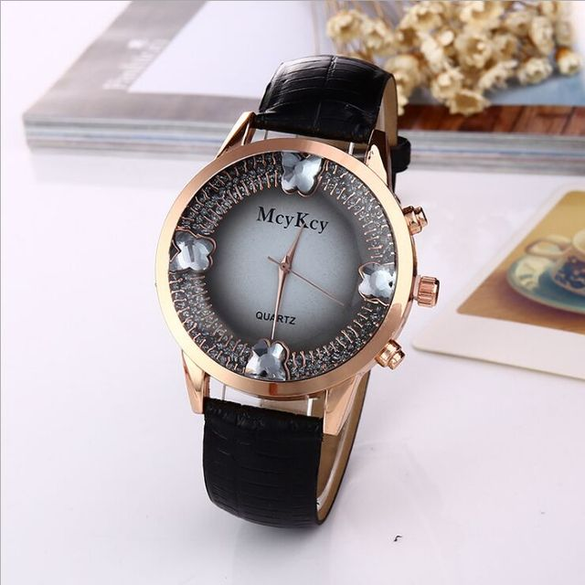 2018 New arrival Butterfly Snake belt Leather Watch Women Ladies Casual Crystal