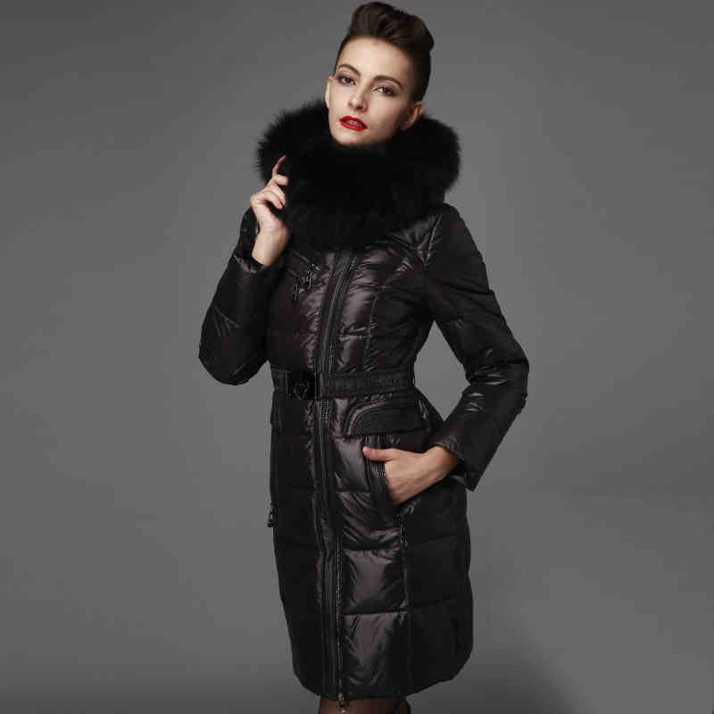 2015 Hot New Winter Thicken Warm Woman Down jacket Coat Parkas Outerwear Hooded Fox Fur collar Luxury Long Brand Plus Size 2XXL 2015 new hot winter thicken warm woman down jacket coat parkas outerwear hooded fox fur collar luxury long plus size 2xxl goose