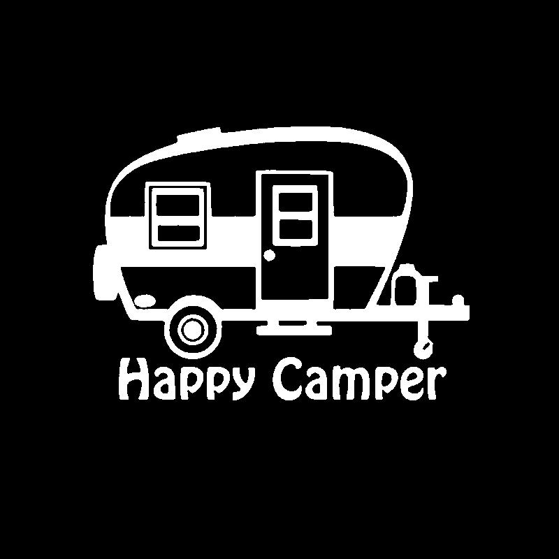 YJZT 15.3CM*11.1CM Cartoon Creative Art Happy Camper Vinyl Decal Motorcycle Car Sticker Waterproof C11-1333