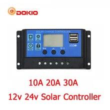 Dokio 12/24v 10A/20A/30A PWM שמש בקר שמש פנל LCD תצוגת שמש רגולטור עם שקע USB