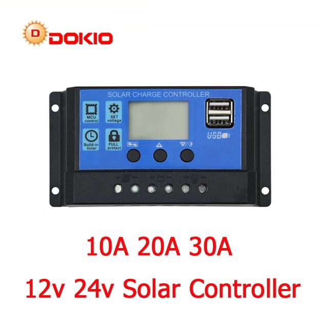 Dokio 12/24v 10A/20A/30A PWM Solar Controller For Solar Panel LCD Display Solar Regulator With USB Socket