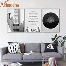 Альмодена скандинавский черный и белый музыкальный инструмент декоративная живопись Музыка Холст плакат без рамы настенная художественная картина