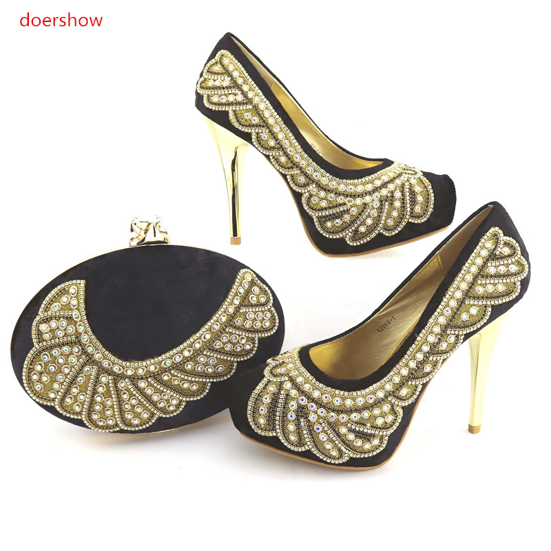 doershow Shoes and Bag Set Matching Shoe and Bag Set for African Party Nigerian Women Shoes and Bag Set To Match for part NJ1-13 doershow women shoe and bag to match for parties african shoe and bag set for wedding in women white high quality lulu1 23