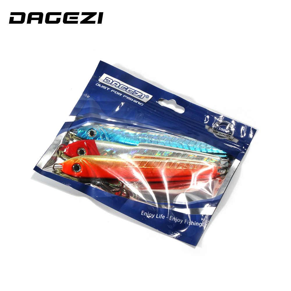 DAGEZI 3 Pcs الحديد ترتر معدني جذاب المياه المالحة قارب الصيد إغراء 14 cm 117g لوحة معدنية الرصاص تهزهز الطعم بطيئة غرق إغراء