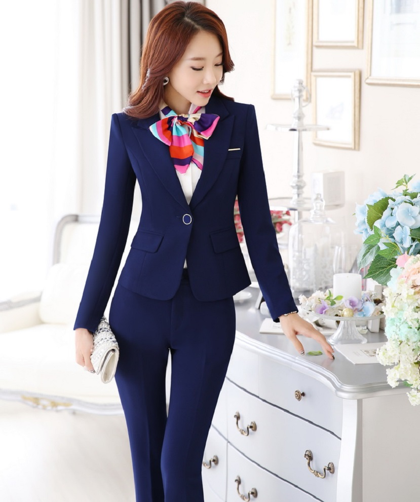 Novelty Blue Fashion Autumn Winter Professional Business Work Suits With Jackets And Pants Ladies Trousers Sets Female Blazers Making Things Convenient For Customers Pant Suits Suits & Sets