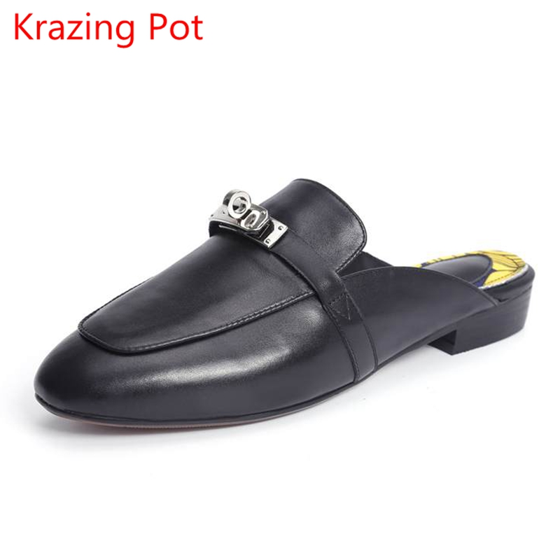 Genuine Leather Solid Slip on Metal Buckle Sandals Low Heels Outside Slippers Lazy Style Large Size Mules Slingback Casual Shoes