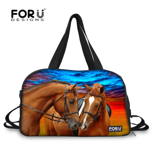 FORUDESIGNS Brand Crazy Horse Print Men Luggage Travel Bags Large Capacity Women Travel Duffel Tote Canvas Weekend Bags Handbag