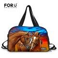 Forudesigns marca crazy horse impressão homens bagagem sacos de viagem de grande capacidade mulheres bolsa de viagem mochila tote sacos de fim de semana