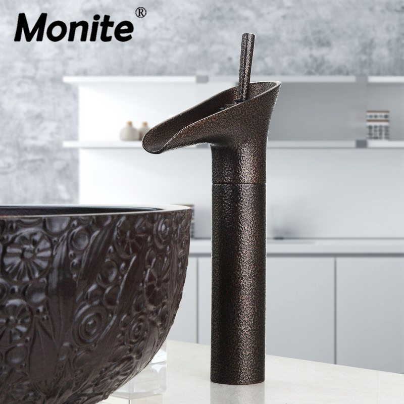 Monite Wine Glass Style Roman Bronze Art Bath Decor Water Waterfall Vessel Countertop Bathroom Basin Faucet Sink Mixer Tap quality assurance panasonic air plasma cutting accessories reasonable price tips plasma electrodes