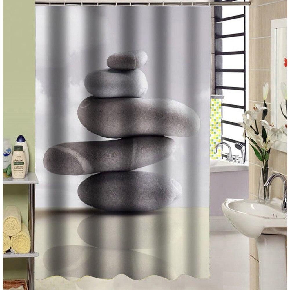 180x180 cm Baño de Piedra Patrón de Poliéster Cortina de Ducha con Ganchos De Pl