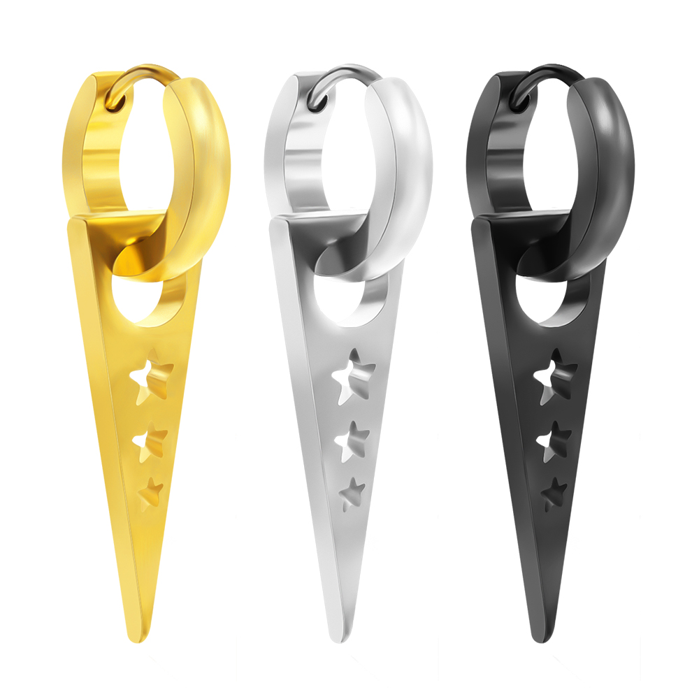 1 Pair Triangle Drop Earrings for Men Women Star Hollow Out Pendant Round Ear Piercing Jewelry Stainless Steel Dangle Earrings