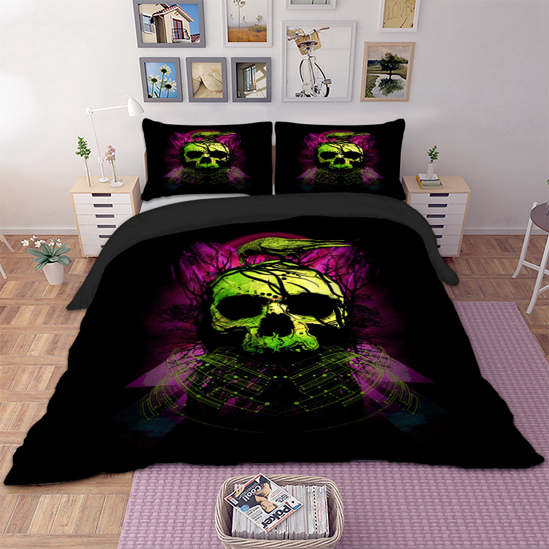 Image 2 - wongsbedding green Skull bird Duvet Cover Bedding Set Twin Full Queen King Size 3PCS-in Bedding Sets from Home & Garden