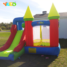 лучшая цена YARD Bounce House with Slide Kids Indoor Inflatable Jump Castle with Blower Outdoor Playhouse Children Toy Trampoline Bouncer