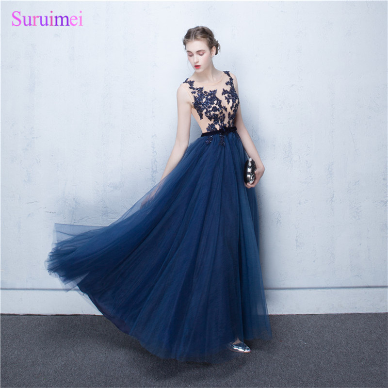 Exquisite Navy blue Chiffon   Prom     Dresses   2017 With Appliques Lace And Beaded Nude See Through Long   Prom   Party Gown