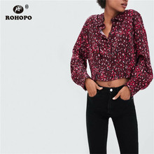 ROHOPO Autumn Female Crop Snake Skin Blouse Lantern Sleeve Turn Down Collar Short Streetwear Gir Red Top Shirt #XZ1861