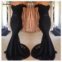 2020 быстрая доставка с плеча черный сексуальный кружева Русалка невесты Платья vestido де Ренда феста Лонго в наличии