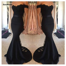 2020 Fast Shipping Off the Shoulder Black Sexy Lace Mermaid Bridesmaid