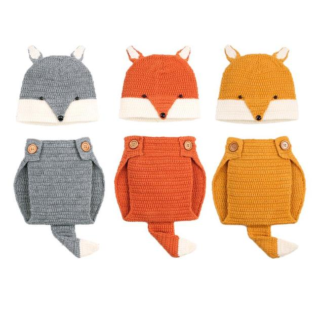 Newborn Baby Clothing Infant Baby Boys Girls Crochet Knitting Fox Style  Photo Props Outfits Baby Cosplay Set Clothes dd3b67a37db