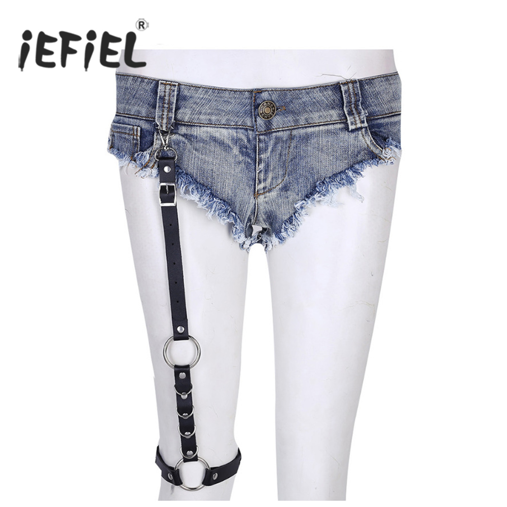 iEFiEL Fashion Street Women Punk Rock Handcrafted Leather Female Garter Belt Waist Thigh High Suspenders Straps for Shorts Jeans