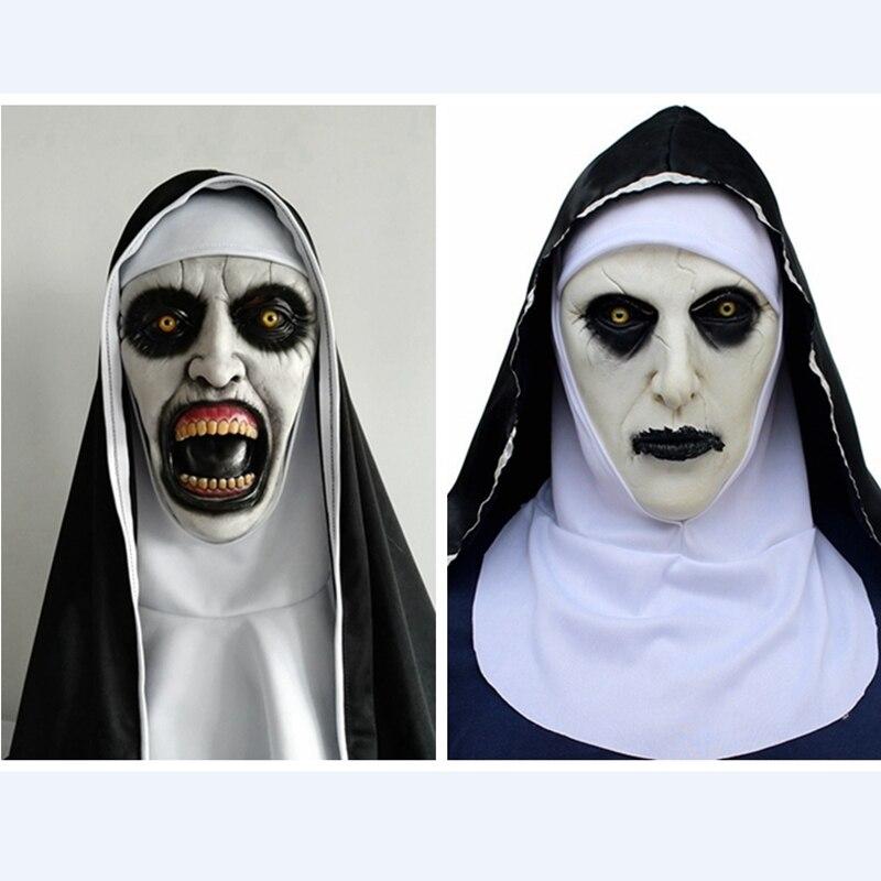 Horror Nun Valak Mask Headscarf Veil Hood Full Face Devil