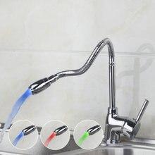 Yanksmart современные светодиодные Кухня Раковина кран Одной ручкой отверстие смесителя кран горячей и холодной воды