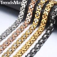 Trendsmax-collar bizantino de 7/9/11mm para hombre, cadena de acero inoxidable, Oro Negro, 2018, regalo de joyería para hombre, 18-36