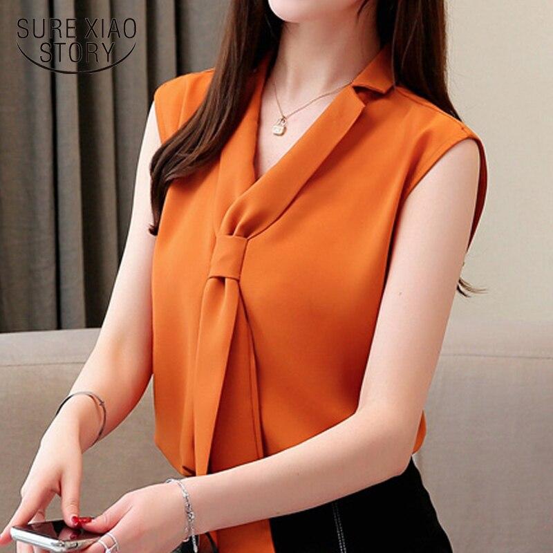 fashion women   blouses   2019 summer sleeveless chiffon women   blouse     shirt   bow V-neck office   blouse   womens tops and   blouses   3093 50