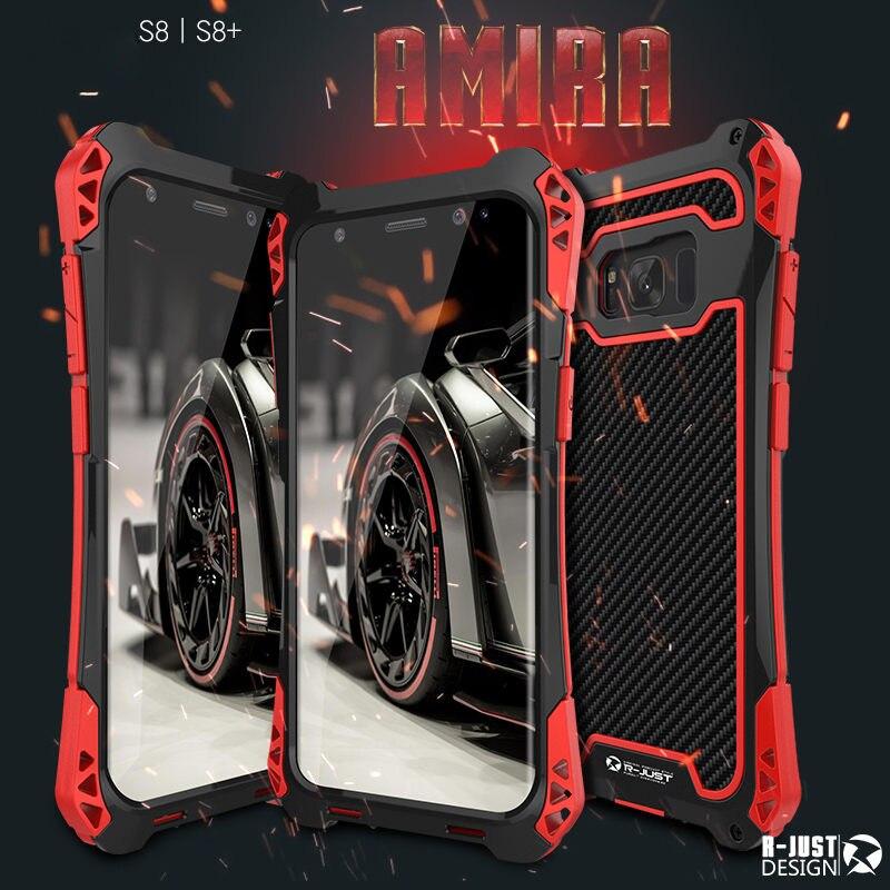 imágenes para R-sólo marca case para samsung s8 plus case a prueba de golpes cubierta del metal de aluminio + fibra de carbono armadura teléfono para galaxy s8 case
