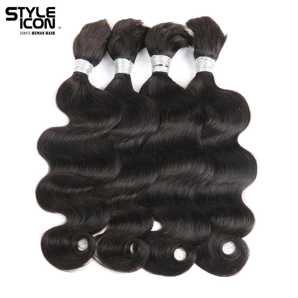 Styleicon 4 Bundles Deals Human Braiding Hair Bulk Natural Color Braiding Remy Peruvian Body Wave Bulk Hair Extension Crochet