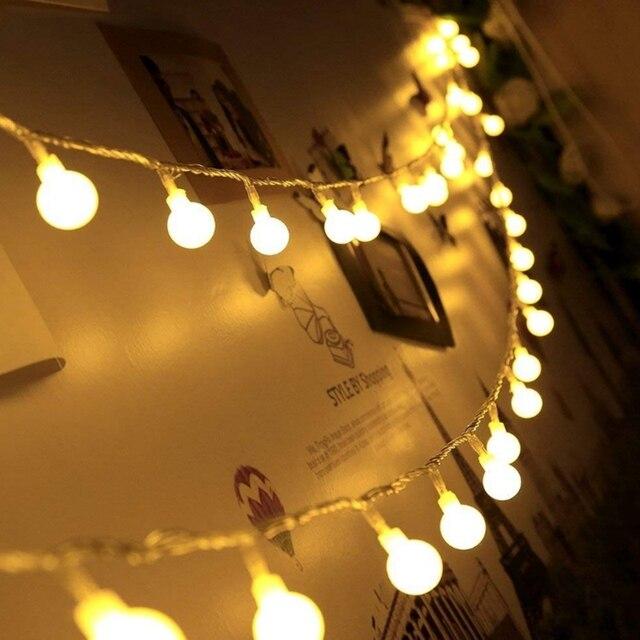 10 متر 20 متر 30 متر 50 متر 220 فولت الجنية جارلاند LED الكرة سلسلة أضواء مقاوم للماء مصباح للزينة لشجرة عيد الميلاد لوازم ديكورات زفاف للمنزل