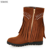 NEMAONE Shoes Women High Heel Ankle Boots Women Boots Winter Fur Martin Boots zip Lady Shoes Big Size 43
