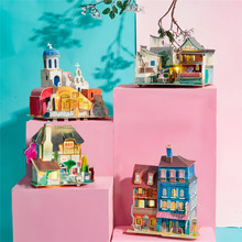 Robotime New Arrival 8 Kinds DIY Doll House with Led Light Children Adult Miniature Wooden Model Building Dollhouse Toy SJ(China)